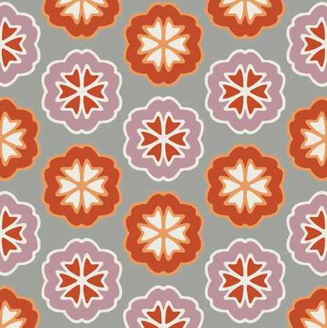 Flower Chevron Dark Orange and Mauve on Gray fabric by jumeaux on Spoonflower - custom fabric