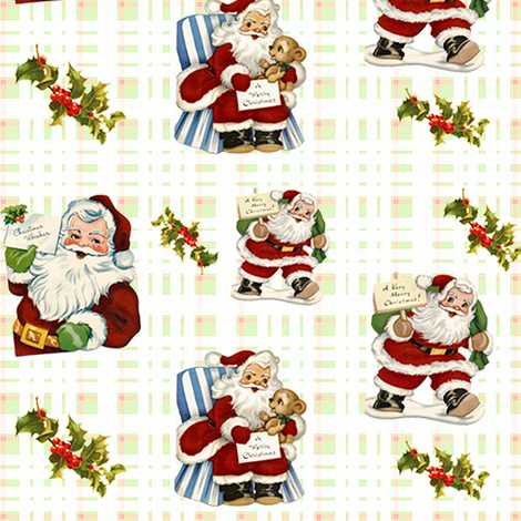 Vintage Santas fabric by tulsa_gal on Spoonflower - custom fabric
