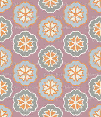 Flower Chevron Mauve and Gray