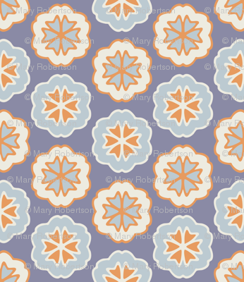 Flower Chevron Dark Blue