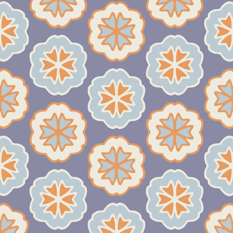 Flower Chevron Dark Blue fabric by jumeaux on Spoonflower - custom fabric