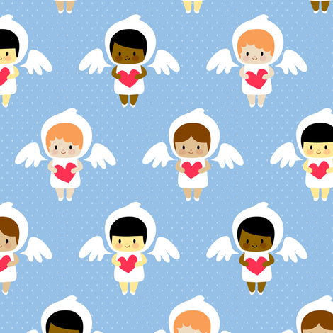 Kawaii angels (blue) fabric by petitspixels on Spoonflower - custom fabric
