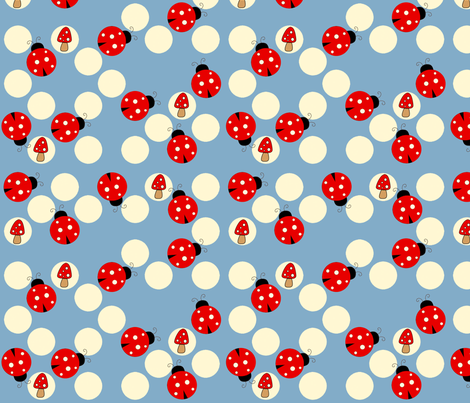 Spot the Ladybug in blue fabric by anikabee on Spoonflower - custom fabric