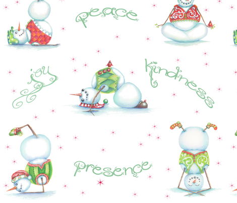 Yoga Snowmen Wrapping Paper fabric by idyl-wylddesign on Spoonflower - custom fabric