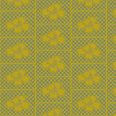 Plum Blossom Quilt - yellow and slate blue fabric by materialsgirl on Spoonflower - custom fabric