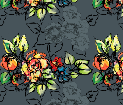 flowers &amp; ink version two fabric by rcm-designs on Spoonflower - custom fabric