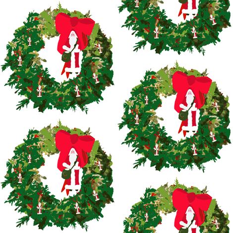 Christmas, Santa Wreaths fabric by karenharveycox on Spoonflower - custom fabric
