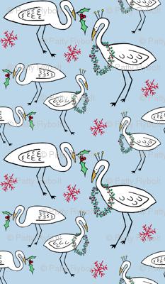 Christmas Cranes (sky blue)