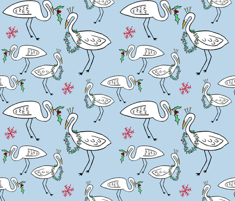 Christmas Cranes (sky blue) fabric by pattyryboltdesigns on Spoonflower - custom fabric