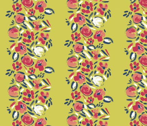 Matisse_inspired_floral_stripe_lime_b fabric by pattern_addict on Spoonflower - custom fabric