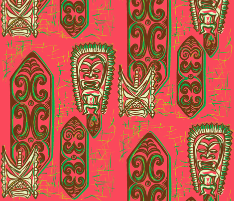 Old School,Nu Ku Gu Christie Coral fabric by sophista-tiki_by_dawn_frasier on Spoonflower - custom fabric