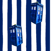 Blue &amp; White Striped TARDIS