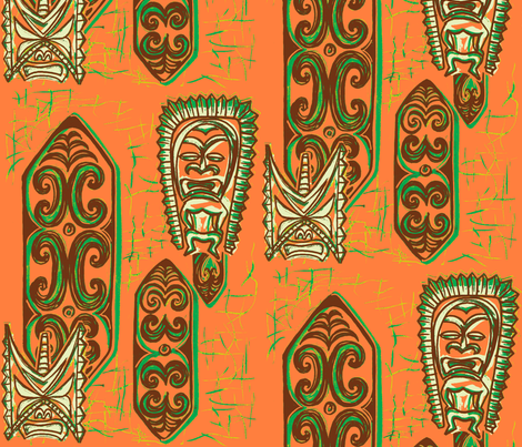 Old School,Nu Ku Gu Christie Coral-ch fabric by sophista-tiki_by_dawn_frasier on Spoonflower - custom fabric