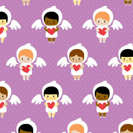 Kawaii angels (purple) fabric by petitspixels on Spoonflower - custom fabric