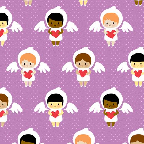Kawaii angels (purple) fabric by petitspixels on Spoonflower - custom fabric