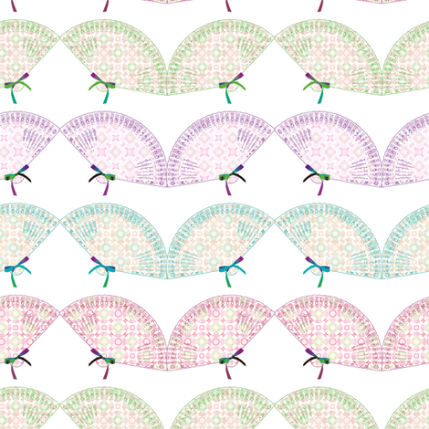 Fabric_fans_white fabric by vannina on Spoonflower - custom fabric