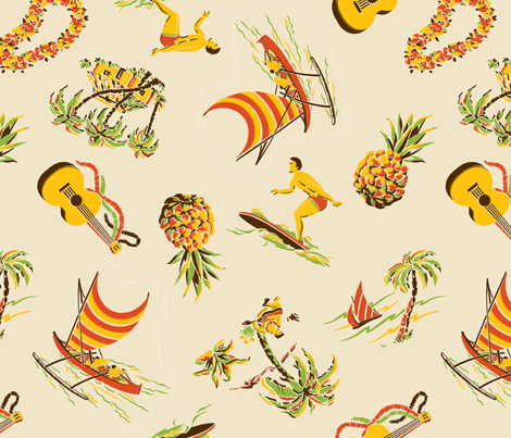 Hawaiiana1a fabric by muhlenkott on Spoonflower - custom fabric