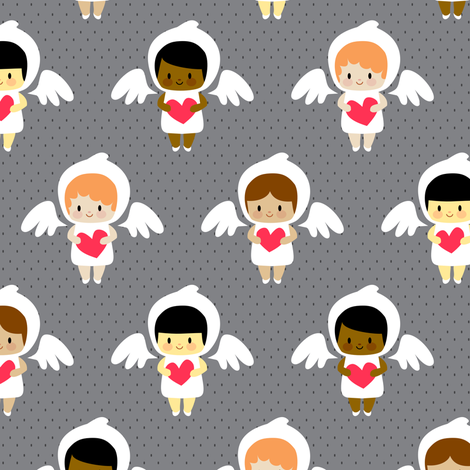 Kawaii angels (dark) fabric by petitspixels on Spoonflower - custom fabric