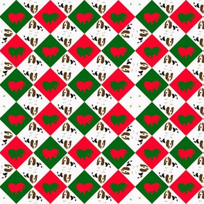 Snall Holiday Basset Design -- check, geometric, dog, christmas