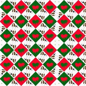 Snall Holiday Basset Design -- check, geometric, dog, christmas
