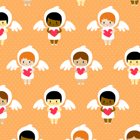 Kawaii angels (orange) fabric by petitspixels on Spoonflower - custom fabric