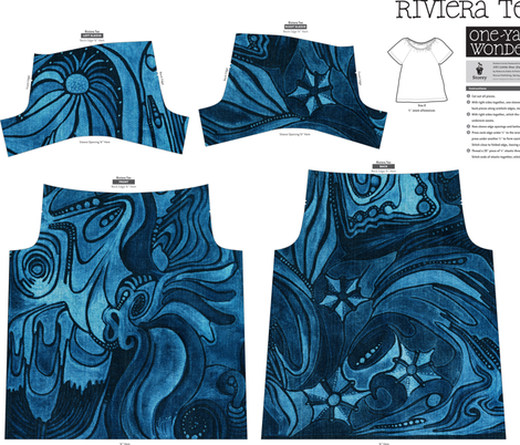 The Denim Seadragon fabric by janicesheen on Spoonflower - custom fabric