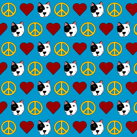 Tiny Peace, Love, Pit Bulls  fabric by missyq on Spoonflower - custom fabric