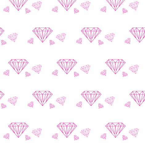 Diamonds are forever - hot pink on white fabric by little_fish on Spoonflower - custom fabric