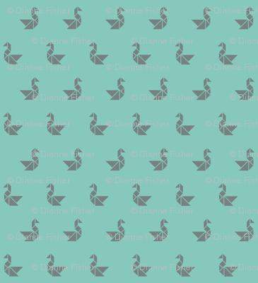 Tangram birds grey on aqua