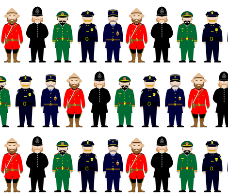 International police uniforms and moustaches fabric by barbara_brownie on Spoonflower - custom fabric