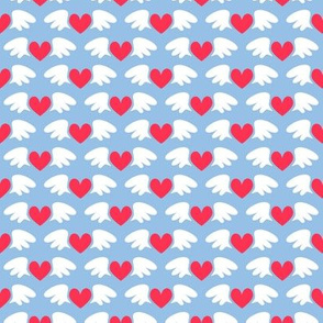 Winged hearts (blue)