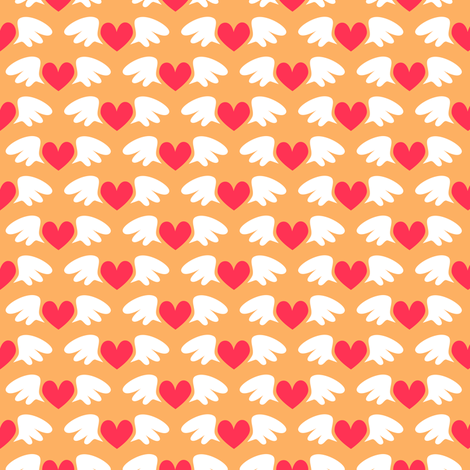 Winged hearts (orange) fabric by petitspixels on Spoonflower - custom fabric