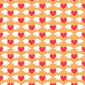 Winged hearts (orange)