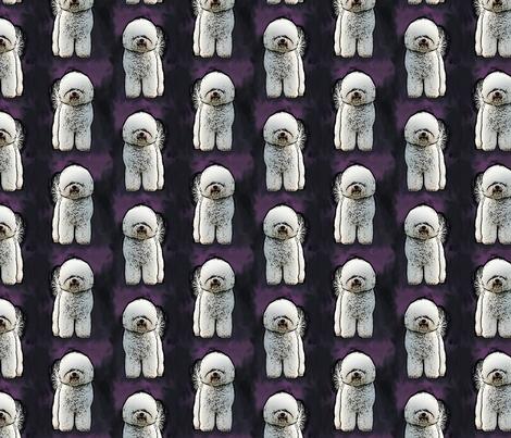 Posing Bichon Frise - purple fabric by rusticcorgi on Spoonflower - custom fabric