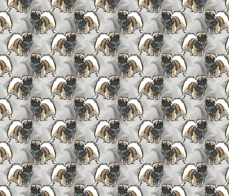 Posing Tibetan Spaniels fabric by rusticcorgi on Spoonflower - custom fabric