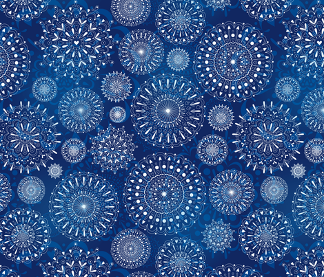 Snowflakes on blue fabric by stewsha on Spoonflower - custom fabric