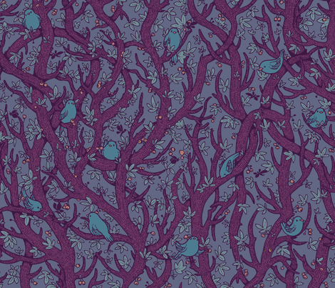 singing_forest_dark_purply fabric by celandine on Spoonflower - custom fabric