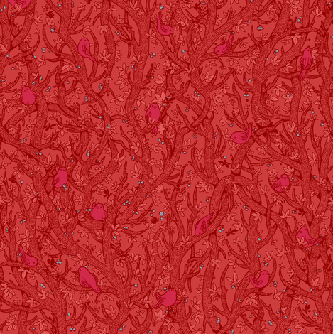 singing_forest_red_red fabric by celandine on Spoonflower - custom fabric