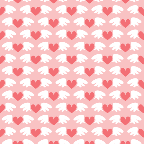 Winged hearts (red) fabric by petitspixels on Spoonflower - custom fabric