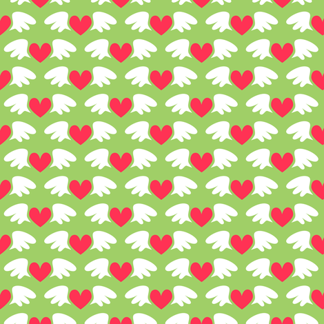 Winged hearts (green) fabric by petitspixels on Spoonflower - custom fabric