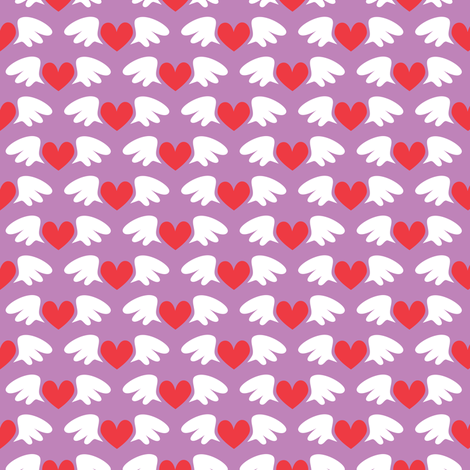 Winged hearts (purple) fabric by petitspixels on Spoonflower - custom fabric