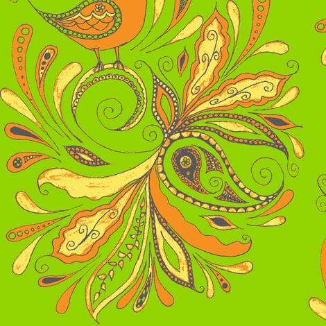 fancy birds-grn fabric by kerryn on Spoonflower - custom fabric