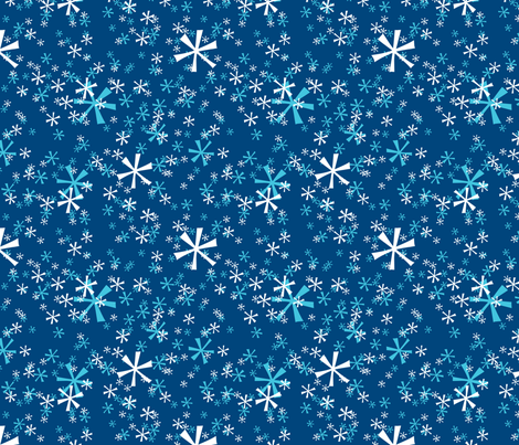 Winter Wonderland Snowflakes - navy fabric by ruthevelyn on Spoonflower - custom fabric