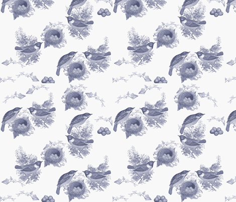 Viole tBirds and Nest Toile fabric by karaskye on Spoonflower - custom fabric