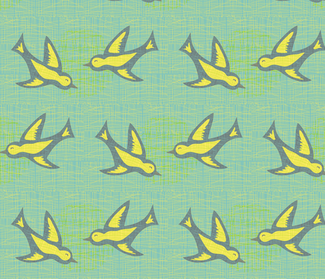 Doves on linen  fabric by mainsail_studio on Spoonflower - custom fabric