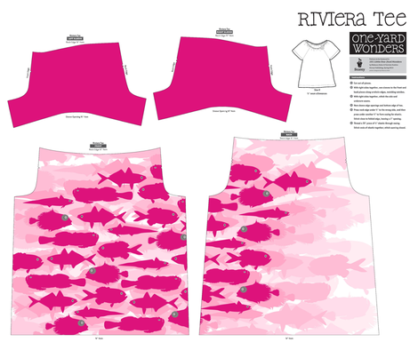 Pink Fish Funk Under The Sea T-Shirt Pattern fabric by smuk on Spoonflower - custom fabric