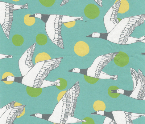 migratory birds - grey, light teal, apple green, pale yellow