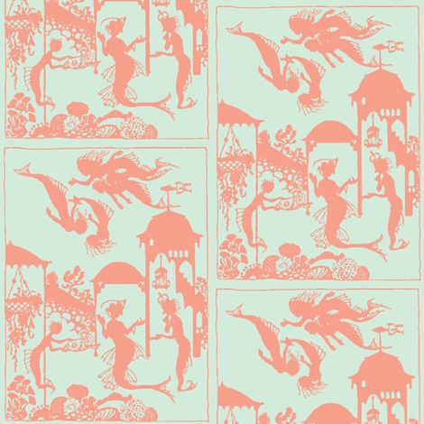 Mermaid Town wallpaper fabric by nalo_hopkinson on Spoonflower - custom fabric