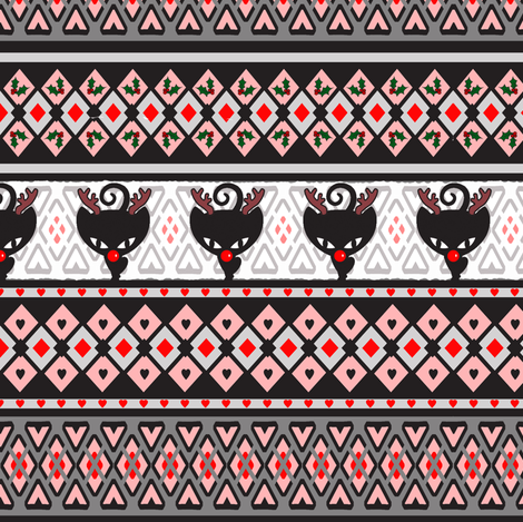 Fairisle Christmas Kitties fabric by lovekittypink on Spoonflower - custom fabric