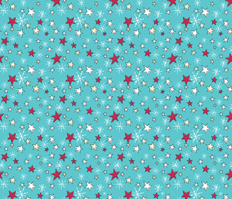 Retro Style Christmas Stars And Snowflakes fabric by diane555 on Spoonflower - custom fabric